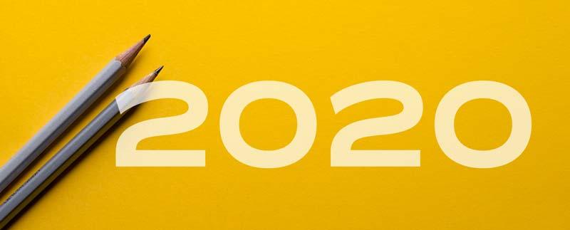 2020 auf gelben Hintergrund